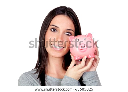 Beautiful girl with piggy-bank isolated on a over white background
