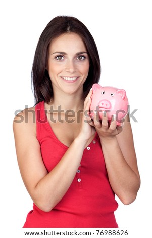 Beautiful girl with piggy-bank isolated on a over white background - stock photo