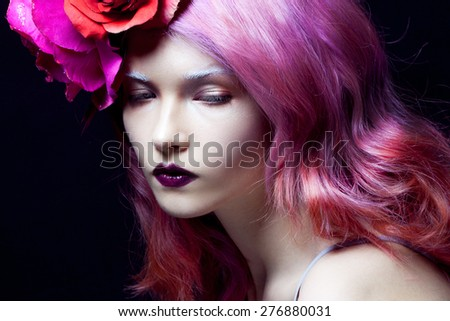 beautiful girl with pink hair,  delightful bright image, horizontally - stock photo