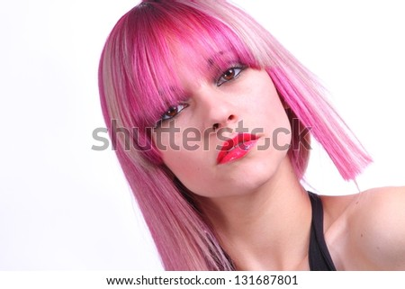 Beautiful girl with pink hair, red lipstick and brown eyes - stock photo