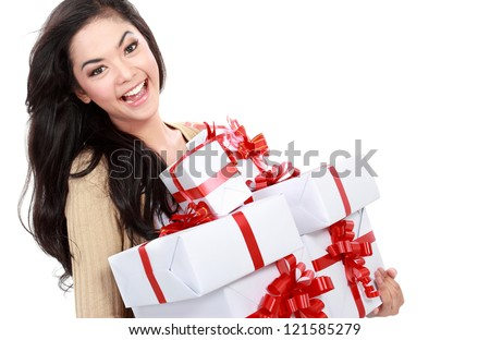 Beautiful girl with present gift box isolated over white background