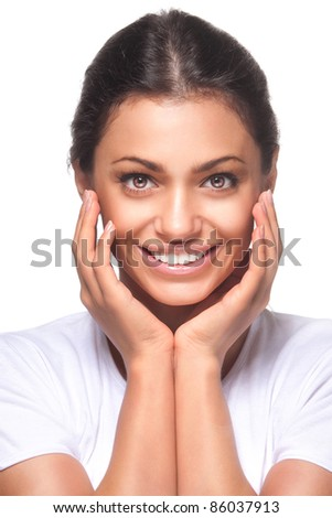 beautiful girl with pretty smile on white background - stock photo
