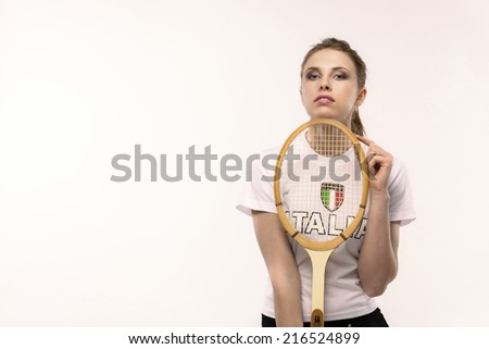 beautiful girl with protective mask  on white background  - stock photo