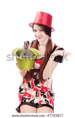 beautiful girl with rabbit - stock photo