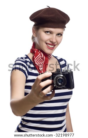 Beautiful girl red bandana beret striped stock photo for French striped shirt and beret