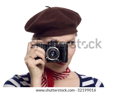 60s girl stock images royalty free images vectors for French striped shirt and beret