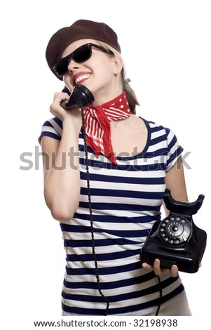 Sexy young blond denim mini skirt stock photo 5900008 for French striped shirt and beret