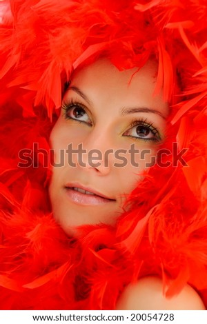 beautiful girl with red feathers