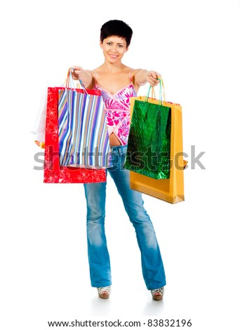 beautiful girl with shoping bsgs  isolated on a white background