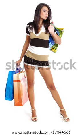 Beautiful girl  with shopping bag,  isolated on white - stock photo