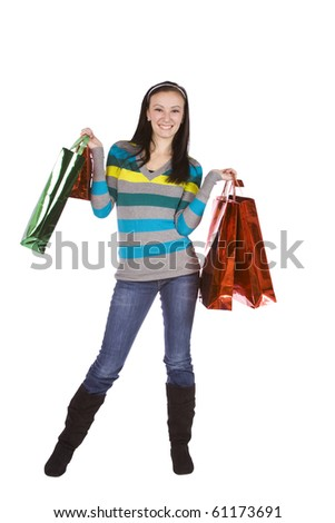 Beautiful Girl with Shopping Bags - Isolated White Background