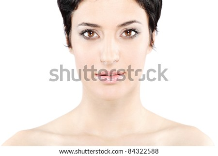 beautiful girl with short black hair, against white background