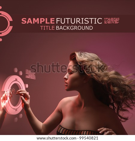 beautiful girl with streaming hair touching virtual interface on futuristic techno background - stock photo