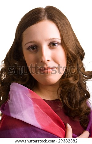 Beautiful girl with the colored scarf. Isolation on a white background - stock photo