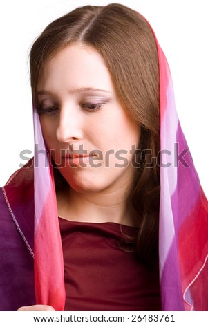 Beautiful girl with the colored scarf on a head. Isolation on a white background - stock photo