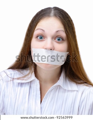 Beautiful girl with the mouth closed, the white ribbon. Isolated on a white background.