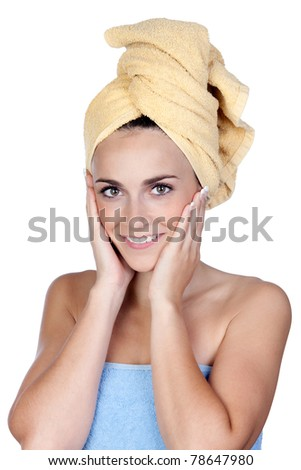 Beautiful girl with towel isolated on a over white background - stock photo