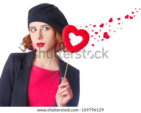 Beautiful girl with toy heart and abstract hearts around