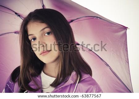 Beautiful Girl With Umbrella, studio shoot - stock photo