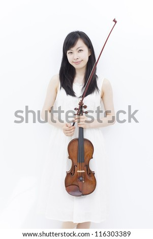 beautiful girl with violin isolated on white background - stock photo