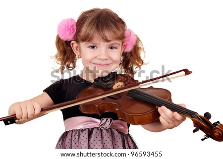 beautiful girl with violin portrait - stock photo