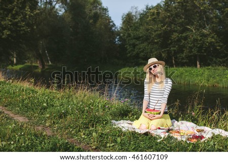 beautiful girl with watermelon on picnic