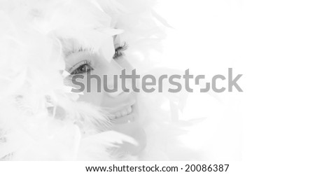 beautiful girl with white feathers
