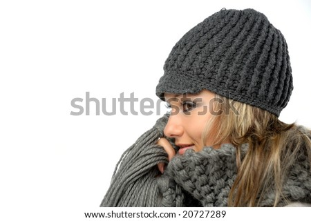 beautiful girl with winter clothes - stock photo