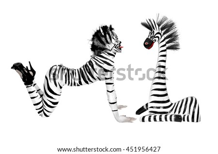beautiful girl zebra body paint sticking stock photo 451956427 shutterstock. Black Bedroom Furniture Sets. Home Design Ideas