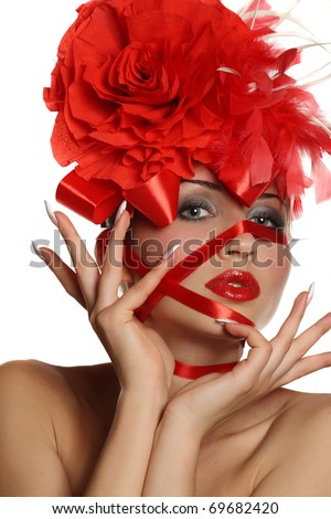beautiful girl withs a flower head