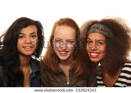 Beautiful girlfriends having fun - stock photo