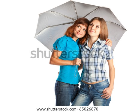 beautiful girls are standing under the umbrella. isolated on white background