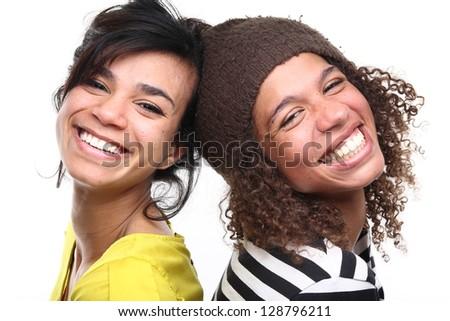 Beautiful girls having fun! - stock photo