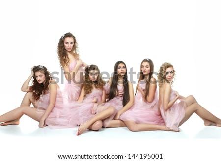 beautiful girls in pink organza - stock photo