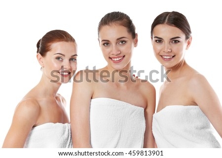 Beautiful girls, isolated on white. Spa concept