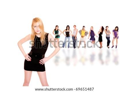 beautiful girls over white background - stock photo