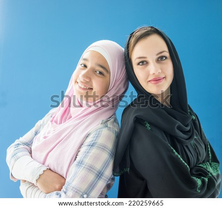 Beautiful girls with a hijab together - stock photo