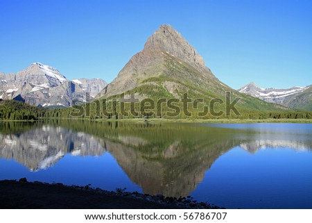 Beautiful Glacier National Park, at Swiftcurrent Lake in the Many Glaciers section of the park. - stock photo