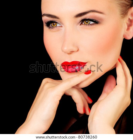Beautiful glamour female portrait, fashionable stylish makeup decorated with stars - stock photo