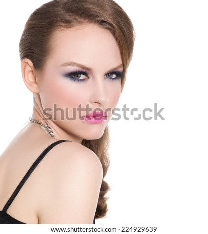 beautiful glamour girl with bright make-up- - stock photo