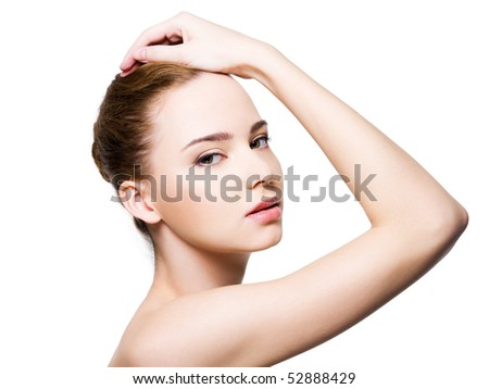 Beautiful glamour woman face with clean health skin - isolated on white - stock photo