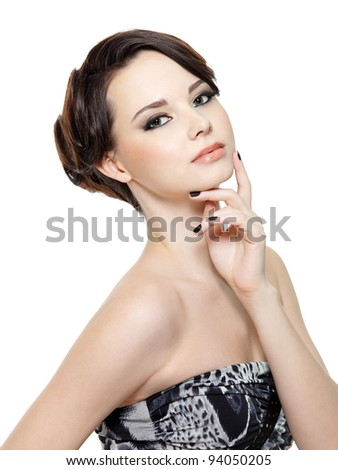 Beautiful glamour young woman with fashion make-up and manicure - stock photo