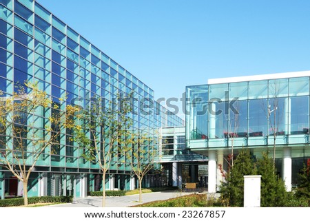 beautiful glass building of the exhibition in beijing - stock photo