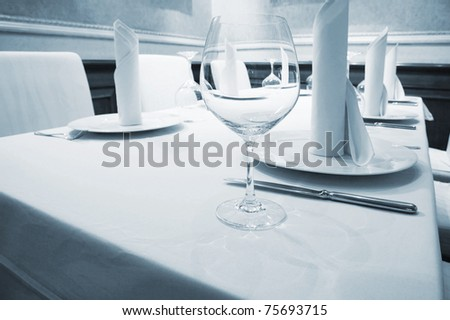 Beautiful glass on a table at restaurant - stock photo