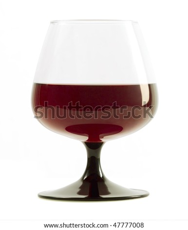 Beautiful glass with red wine isolated on white - stock photo