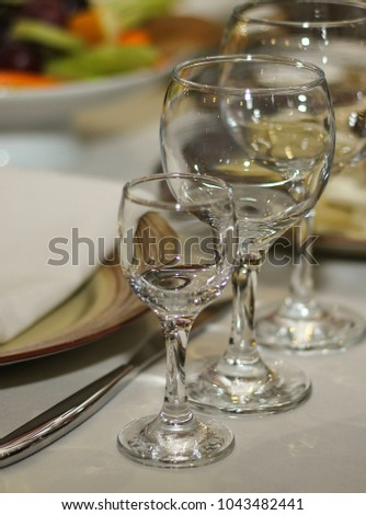 beautiful glasses on the table in the restaurant close-up