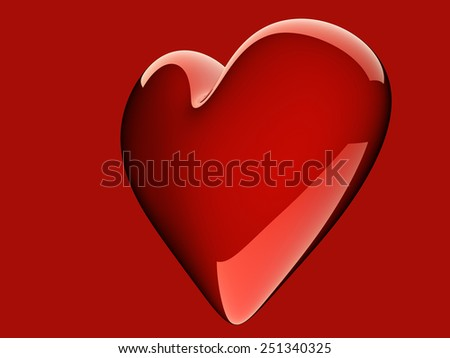 beautiful glossy red heart on red background - stock photo