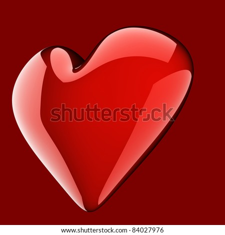 beautiful glossy red heart on red background