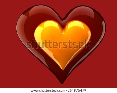 beautiful glossy yellow heart inside glass heart - stock photo