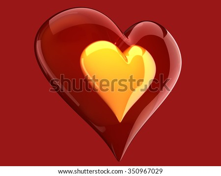 beautiful glossy yellow heart inside glass heart - stock photo